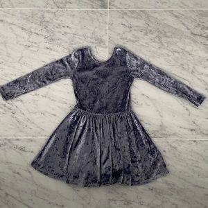 PixieLane crush velvet swing dress in grayish blue